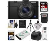 Sony Cyber-Shot DSC-RX100 II Wi-Fi Digital Camera (Black) with Sony 32GB Card + 2 Cases + Battery + Flex Tripod + Accessory Kit