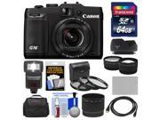 Canon PowerShot G16 Wi-Fi Digital Camera (Black) with 64GB Card + Case + Flash + Battery + Tele/Wide Lenses + Filter + Accessory Kit