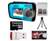 Coleman Duo 2V7WP Dual Screen Shock & Waterproof Digital Camera (Blue) with 8GB Card & Reader + Accessory Kit