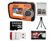 Coleman Duo 2V7WP Dual Screen Shock & Waterproof Digital Camera (Orange) with 8GB Card & Reader + Accessory Kit