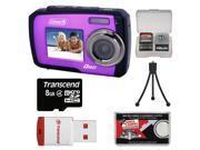 Coleman Duo 2V7WP Dual Screen Shock & Waterproof Digital Camera (Purple) with 8GB Card & Reader + Accessory Kit
