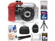 Intova IC16 Sports Digital Camera with 180' Waterproof Housing (Black) with 32GB Card + Battery + 2 Cases + Underwater LED Torch + Flex Tripod + Accessory Kit