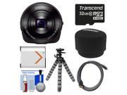 Sony Cyber-Shot DSC-QX10 Smartphone Attachable Lens-Style Digital Camera (Black) with 32GB Card + Battery + Case + Flex Tripod + HDMI Cable + Accessory Kit