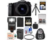 Sony Cyber-Shot DSC-RX10 Digital Camera with 24-200mm f/2.8 Zoom Lens with 64GB Card + Battery + Charger + Backpack + Flash + Flex Tripod + Kit