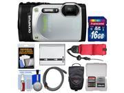 Olympus Tough TG-850 iHS Shock & Waterproof Digital Camera (Silver) with 16GB Card + Case + Battery + Float Strap + Accessory Kit