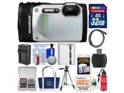Olympus Tough TG-850 iHS Shock & Waterproof Digital Camera (Silver) with 32GB Card + Case + Battery + Tripod + Float Strap + Accessory Kit