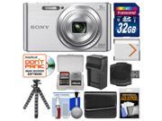 Sony Cyber-Shot DSC-W830 Digital Camera (Silver) with 32GB Card + Case + Battery & Charger + Flex Tripod + Accessory Kit