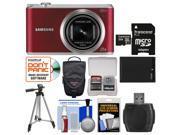 Samsung WB350 Smart Wi-Fi Digital Camera (Red) with 32GB Card + Case + Battery + Tripod + Kit