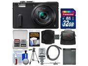 Panasonic Lumix DMC-ZS40 Wi-Fi GPS Digital Camera (Black) with 32GB Card + Case + Flash + Battery + Tripod + Kit