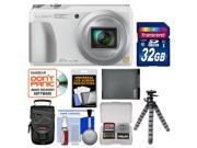 Panasonic Lumix DMC-ZS35 Wi-Fi Digital Camera (White) with 32GB Card + Case + Battery + Flex Tripod + Kit