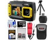 Coleman Duo 2V9WP Dual Screen Shock & Waterproof Digital Camera (Yellow) with 16GB Card + Case + Float Strap + Flex Tripod + Kit
