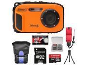 Coleman Xtreme3 C9WP Shock & Waterproof 1080p HD Digital Camera (Orange) with 16GB Card + Case + Tripod + Float Strap + Kit