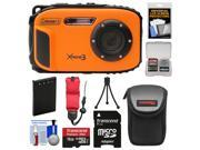 Coleman Xtreme3 C9WP Shock & Waterproof 1080p HD Digital Camera (Orange) with 16GB Card + Battery + Case + Tripod + Float Strap + Kit