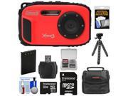 Coleman Xtreme3 C9WP Shock & Waterproof 1080p HD Digital Camera (Red) with 32GB Card + Battery + Case + Flex Tripod + Float Strap + Kit