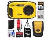 Coleman Xtreme3 C9WP Shock & Waterproof 1080p HD Digital Camera (Yellow) with 16GB Card + Battery + Case + Tripod + Float Strap + Kit