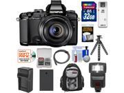 Olympus Stylus 1 Digital Camera with 28-300mm f/2.8 Lens (Black) with 32GB Card + Battery & Charger + Backpack + Flash + Flex Tripod + Accessory Kit