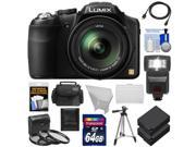 Panasonic Lumix DMC-FZ200 Digital Camera (Black) with 64GB Card + Case + Batteries + Flash + Diffuser + 3 Filters + Tripod + Accessory Kit
