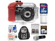 Intova IC16 Sports Digital Camera with 180' Waterproof Housing (Black) with 32GB Card + Battery + Backpack + Underwater Flashlight + Accessory Kit