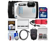 Olympus Tough TG-850 iHS Shock & Waterproof Digital Camera (White) with 16GB Card + Case + Battery + Float Strap + Accessory Kit