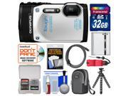 Olympus Tough TG-850 iHS Shock & Waterproof Digital Camera (White) with 32GB Card + Case + Battery + Flex Tripod + Float Strap + Accessory Kit