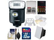 Canon Speedlite 320EX Flash with LED Light with 32GB Card + Soft Box + Diffuser Bouncer + Batteries & Charger + Accessory Kit