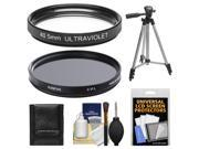 Sunpak 40.5mm UV Ultraviolet Glass Filter & 40.5mm Circular Polarizer Filter with Tripod + Cleaning & Accessory Kit