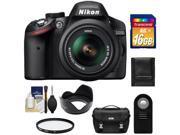 Nikon D3200 Digital SLR Camera & 18-55mm G VR DX AF-S Zoom Lens (Black) with 16GB Card + Case + Filter + Remote + Accessory Kit