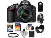 Nikon D3200 Digital SLR Camera & 18-55mm G VR DX AF-S Zoom Lens (Black) with 32GB Card + Backpack + Filter + Remote + Accessory Kit