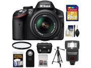 Nikon D3200 Digital SLR Camera & 18-55mm G VR DX AF-S Zoom Lens (Black) with 16GB Card + Flash + Case + Filter + Remote + Tripod + Accessory Kit