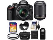 Nikon D3200 Digital SLR Camera & 18-55mm G VR DX AF-S Zoom Lens (Black) with 55-200mm VR Lens + 16GB Card + Case + Filters + Remote + Accessory Kit