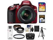 Nikon D3200 Digital SLR Camera & 18-55mm G VR DX AF-S Zoom Lens (Red) with 16GB Card + Case + Filter + Tripod + Telephoto & Wide-Angle Lenses + Accessory Kit