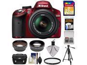 Nikon D3200 Digital SLR Camera & 18-55mm G VR DX AF-S Zoom Lens (Red) with 32GB Card + Case + Filter + Tripod + Telephoto & Wide-Angle Lenses + Accessory Kit