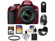 Nikon D3200 Digital SLR Camera & 18-55mm G VR DX AF-S Zoom Lens (Red) with 32GB Card + Backpack + Filter + Remote + Accessory Kit