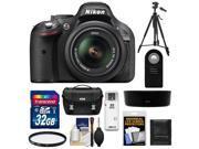Nikon D5200 Digital SLR Camera & 18-55mm G VR DX AF-S Zoom Lens (Black) with 32GB Card + Case + Filter + Remote + Tripod + Accessory Kit