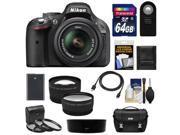 Nikon D5200 Digital SLR Camera & 18-55mm G VR DX AF-S Zoom Lens (Black) with 64GB Card + Battery + Case + 3 Filters + Tele/Wide Lenses + Remote + Accessory Kit