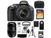 Nikon D5200 Digital SLR Camera & 18-55mm G VR DX AF-S Zoom Lens (Black) with Tamron 70-300mm Lens + 32GB Card + Case + Filters + Remote + Tripod + Accessory Kit