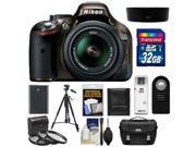 Nikon D5200 Digital SLR Camera & 18-55mm G VR DX AF-S Zoom Lens (Bronze) with 32GB Card + Battery + Case + 3 UV/CPL/ND8 Filters + Tripod + Accessory Kit