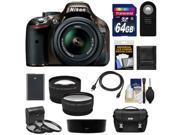 Nikon D5200 Digital SLR Camera & 18-55mm G VR DX AF-S Zoom Lens (Bronze) with 64GB Card + Battery + Case + 3 Filters + Tele/Wide Lenses + Remote + Accessory Kit