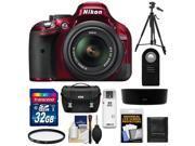 Nikon D5200 Digital SLR Camera & 18-55mm G VR DX AF-S Zoom Lens (Red) with 32GB Card + Case + Filter + Remote + Tripod + Accessory Kit