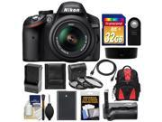 Nikon D3200 Digital SLR Camera & 18-55mm G VR DX AF-S Zoom Lens (Black) with 32GB Card + Backpack + Battery & Charger + Grip + HDMI Cable + 3 Filters Kit