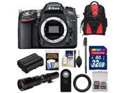 Nikon D7100 Digital SLR Camera Body with 500mm Telephoto Lens + 32GB Card + Battery + Backpack + Monopod + Accessory Kit