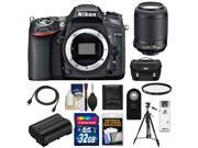 Nikon D7100 Digital SLR Camera Body with 55-200mm VR Lens + 32GB Card + Case + Battery + Filter + Tripod + Accessory Kit
