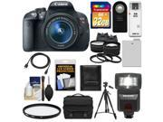 Canon EOS Rebel T5i Digital SLR Camera & EF-S 18-55mm IS STM Lens with 32GB Card + Battery + Case + Flash + Tele/Wide Lenses + Tripod + Accessory Kit