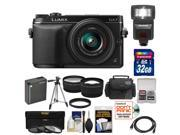 Panasonic Lumix DMC-GX7 Micro Four Thirds Digital Camera with 14-42mm II Lens (Black) with 32GB Card + Battery + Case + Tripod + Flash + Tele/Wide Lenses + Accessory Kit