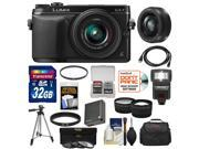 Panasonic Lumix DMC-GX7 Micro Four Thirds Digital Camera with 14-42mm II Lens (Black) with 20mm f/1.7 Lens + 32GB Card + Case + Flash + Battery + Tripod Kit