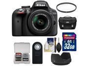 Nikon D3300 Digital SLR Camera & 18-55mm G VR DX II AF-S Zoom Lens (Black) with 32GB Card + Case + Filter + Hood + Remote + Kit