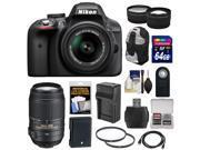 Nikon D3300 Digital SLR Camera & 18-55mm G VR DX II AF-S Zoom Lens (Black) with 55-300mm VR Lens + 64GB Card + Backpack + Battery & Charger + Tele/Wide Lens Kit