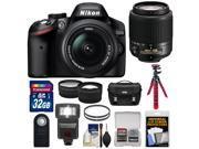 Nikon D3200 Digital SLR Camera & 18-55mm & 55-200mm DX AF-S Zoom Lens and Case with 32GB Card + Filters + Flash + Tripod + Tele/Wide Lens Kit
