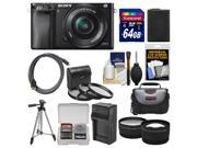 Sony Alpha A6000 Wi-Fi Digital Camera & 16-50mm Lens (Black) with 64GB Card + Case + Battery/Charger + Tripod + Tele/Wide Lens Kit