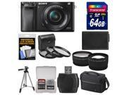 Sony Alpha A6000 Wi-Fi Digital Camera & 16-50mm Lens (Black) with 64GB Card + Case + Battery + Tripod + Tele/Wide Lenses + 3 UV/CPL/ND8 Filter Kit